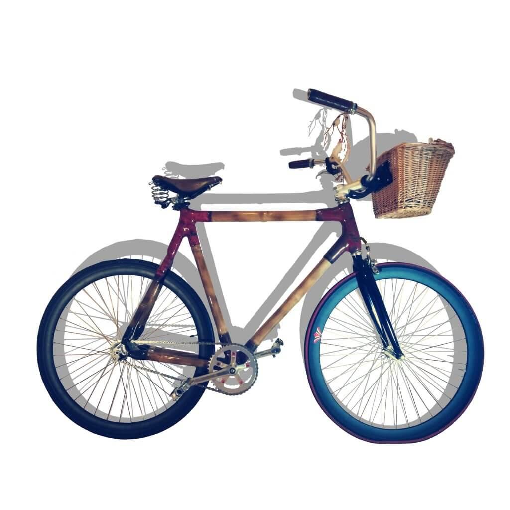 projekty Miejski rower z bambusa z koszykiem