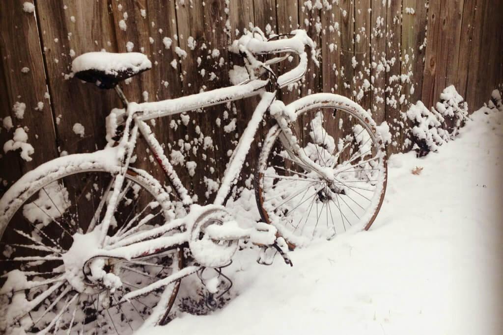 ski bike z bambusa rower w śniegu