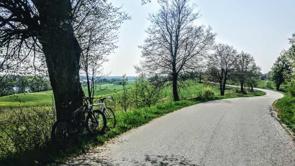 Z rowerem na Mazury rowery oparte o pień